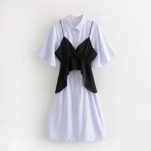 exclusive deals super cute hottest sale Summer Casual Women Two-Piece Dress Woman Striped Turn-Down Collar Loose  Shirt Dress Ladies Black Camis Tops