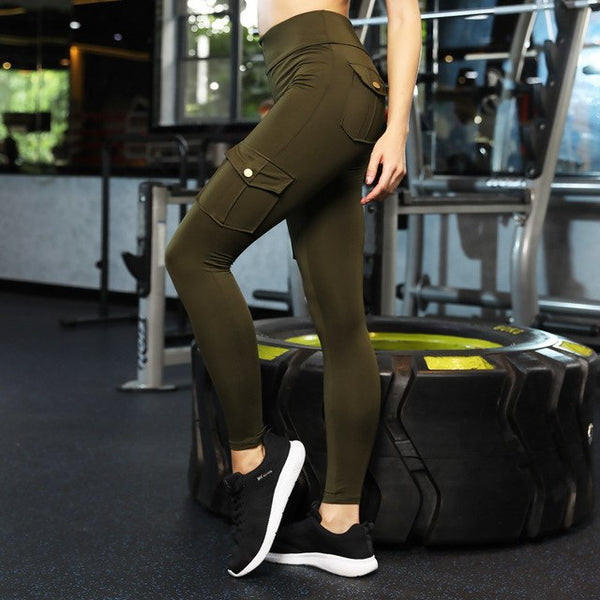 Army Green Black Military Women High Waist Pants Big Packages Elastic Slim Jeggings Casual Sporting Push Up Leggings