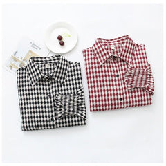 Autumn Vintage Shirts Women Fashion Plaid Slim Stand Collar Casual Loose Shirts H9