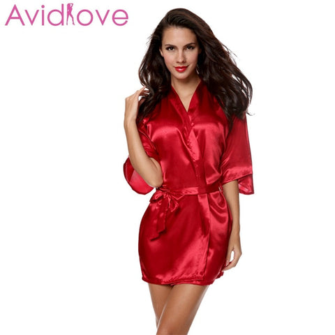 Kimono Women Night Dress Nighty Nightgown Medium Sleeve Nightwear Sleepwear Solid Robe With Belt