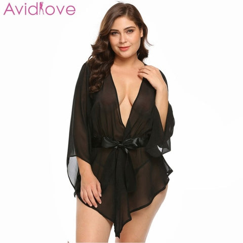 Plus Size Transparent Lace Robe Women Babydoll Lingerie Erotic Sex Costumes Kimono Bathrobe Dressing Gown