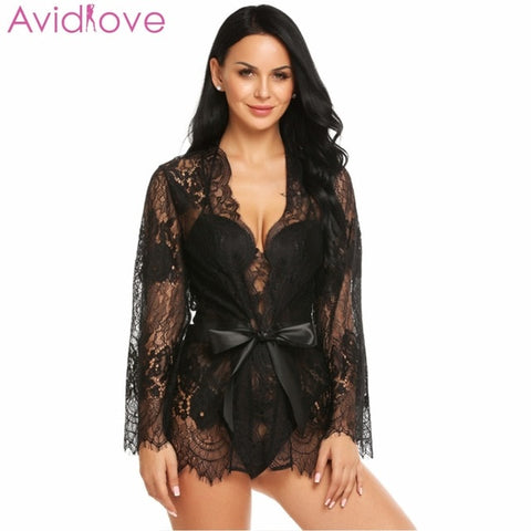 Lingerie Robe Dress Women Lingerie Erotic Plus Size Nightwear Sex Costumes Kimono Bathrobe Dressing Gown