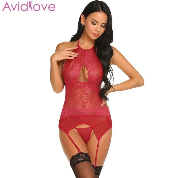 Women Bodysuit Lace Floral Lingerie Erotic Summer Stocking Lingerie Cotton Teddy Nightwear Underwear