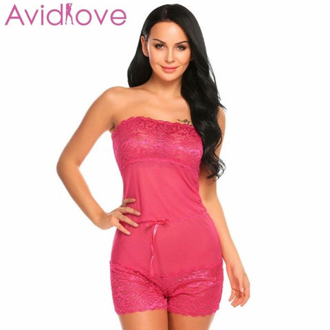 Women One Piece Lingerie Underwear Sheer Lace Nightwear Sleepwear Plus Size Erotic Lingerie Romper Jumpsuit