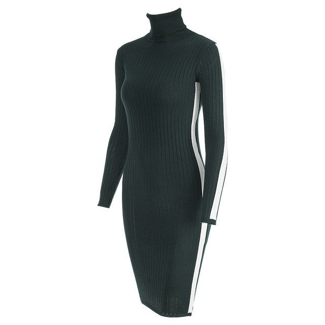 2019 Autumn Winter Women Stitching Striped Knitted Dresses Long Sleeve Turtleneck Sheath Midi Hip Bodycon Dress 1810064