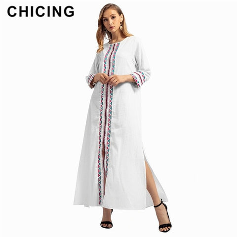 2019 Women Vintage Dresses Round Neck Embroidery Stitching Long Sleeve Bohemian Long Maxi Dresses Beach