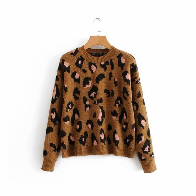 2019 Summer Long Sleeved Leopard Sweater Lady'S Leopard Sweater Dress Leopard