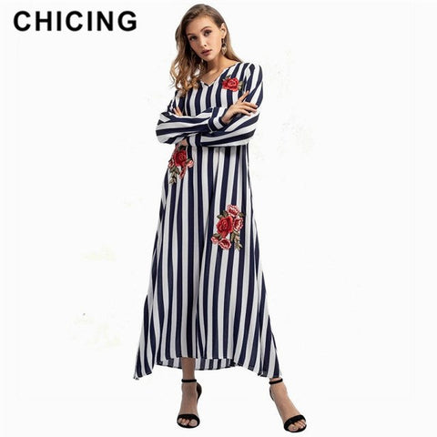Women Casual Floral Printed Long Dresses A-Line Striped Embroidery Full V-Neck Loose Waist Maxi Dresses