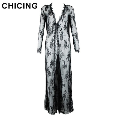 Women Printed Long Dresses Summer Long Sleeve V-Neck Lace Hollow Out Maxi Dress Ladies C1805130