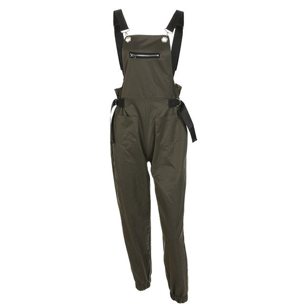 Onesize Zip Straps Jumpsuit Ladies Bag Casual Pants 2019 Spring Summer High Street Solid Mid Waist Overalls