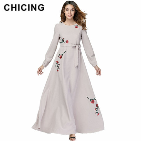 Spring Women Floral Printed Long Dresses O-Neck Regular Bohemian A-Line Maxi Dresses With Sashes