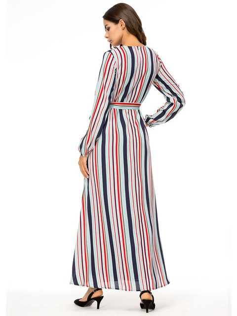 Women Striped Long Dresses Long Sleeve O-Neck Regular Casual Maxi Dress Ladies