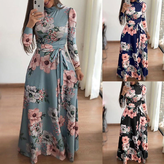 Women Spring Floral Printed Bohemian Long Dresses 2019 Long Sleeve Turtleneck Maxi Dress With Sashes