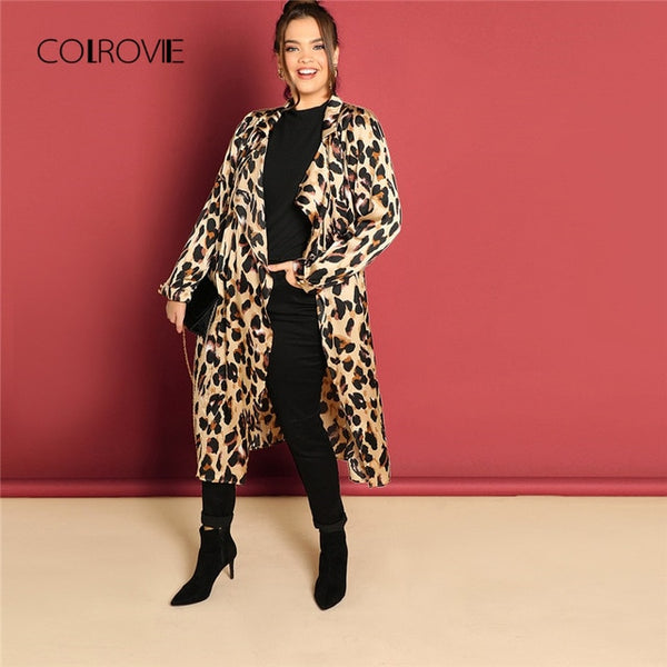 0ab950ed Plus Size Waterfall Leopard Print Long Trench Coat Women 2018 Winter  Cardigan Streetwear Office Ladies Outerwear
