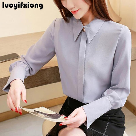 Chic Chiffon Blouse Women Long Sleeve 2019 Loose Office Shirt Women Blosues Plus Size Blusas Mujer Kimono Cardigan