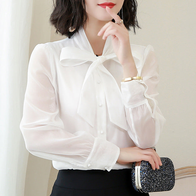 Chiffon Blouse Women Long Sleeve 2019 Solid Color Bow Lace-Up Women Shirts Office Work Shirt Women Tops Kimono Cardigan