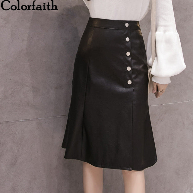 2019 Women Pu Leather Skirt Autumn Winter Button Pencil Eelegant Mermaid Ladies Package Hip Midi Skirt Sk5967