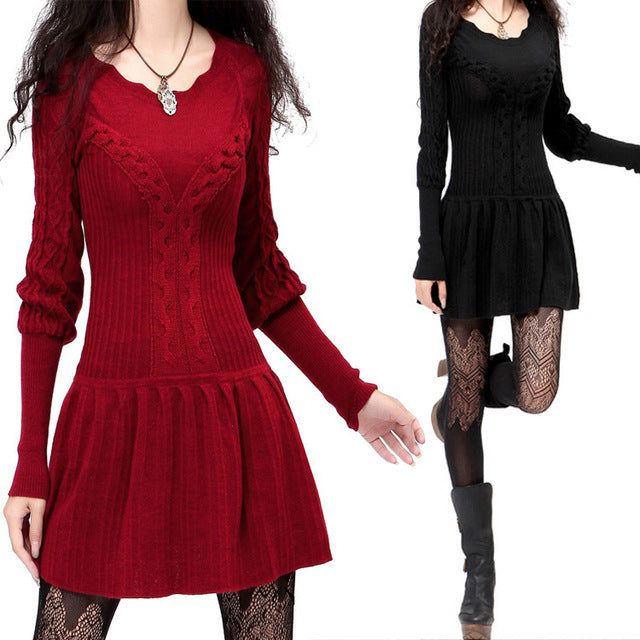 Couple Pullover Sweaters 2019 Women Pullover Spring Autumn Vintage Long Sleeve Black Red Knit Dress Knitwear