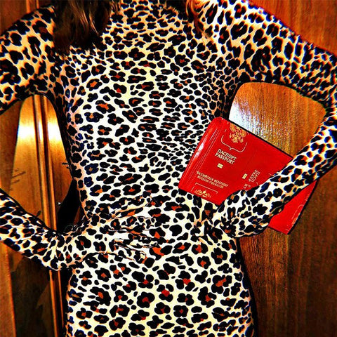 Leopard Print Turtleneck Bodycon Dresses Women Long Sleeve With Gloves Cotton Mini Dress Party Club