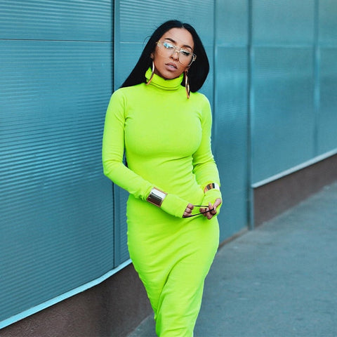 Neon Yellow Turtleneck Long Sleeve Bodycon Dresses Women Casual 2019 Long Dress Robe Pull Thumb Holes