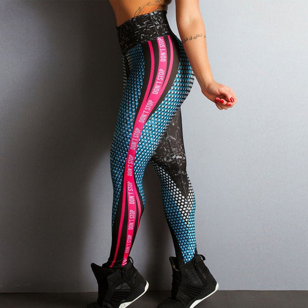 Don'T Stop Fitness Leggings Letter Print High Waist Push Up Leggings Honeycomb Printed Bodybuilding Skinny Dry Quick Pants