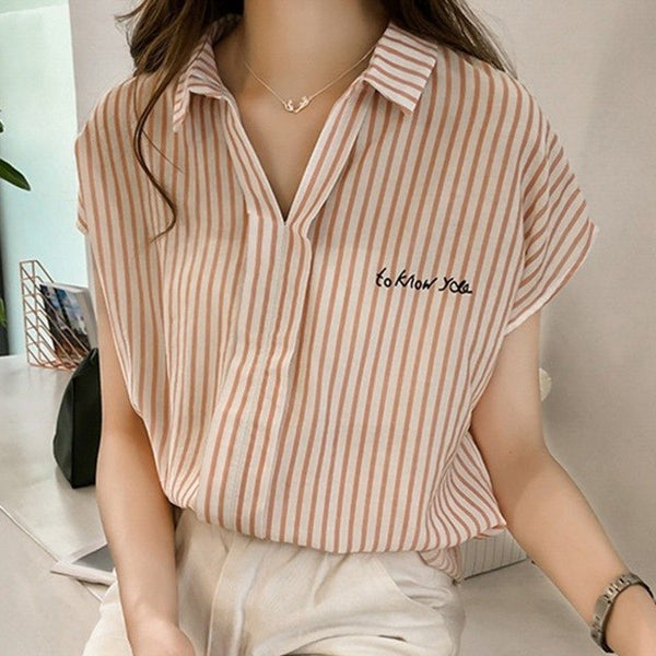 Fashion Blouse Short Sleeve Casual Shirt Striped Women Summer Blouse Womens Stylish Tops H9