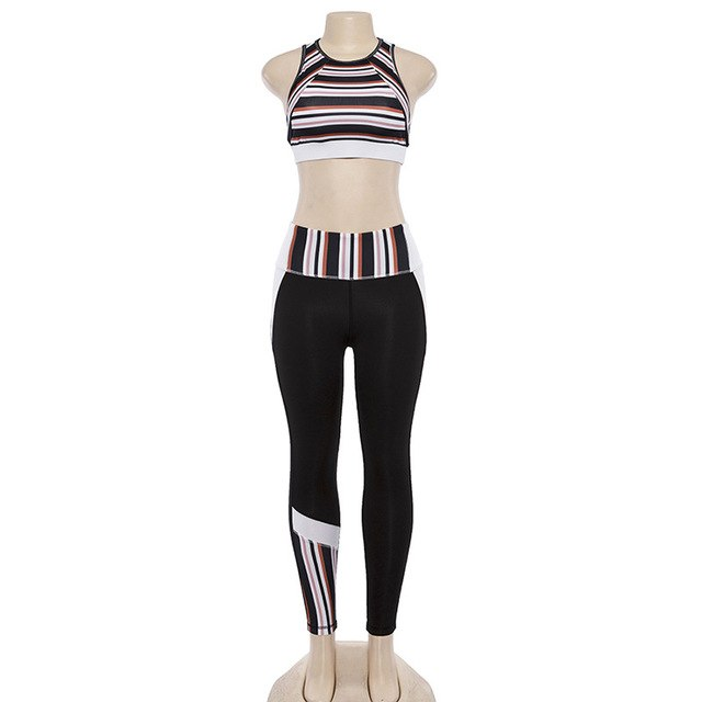 Striped Print Women Tracksuit Black White Patchwork Sporting Sets Tank Tops High Waist Leggings Two Pieces Set