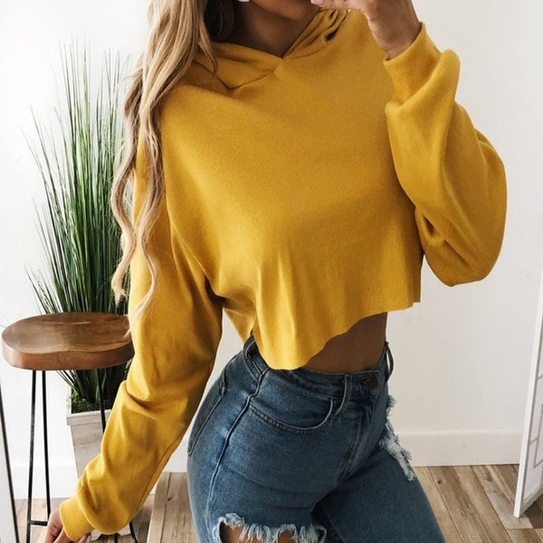 Fashion Women Sweatshirt 2018 Hot Sale Hoodies Solid Crop Hoodie Long Sleeve Jumper Hooded Pullover Coat Casual Sweatshirt Tops