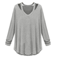 Female Cotton Soft Long Sleeve V-Neck Loose Solid Women Casual Black White Grayt Sweatshirts Bts 4 Colors D1 H7