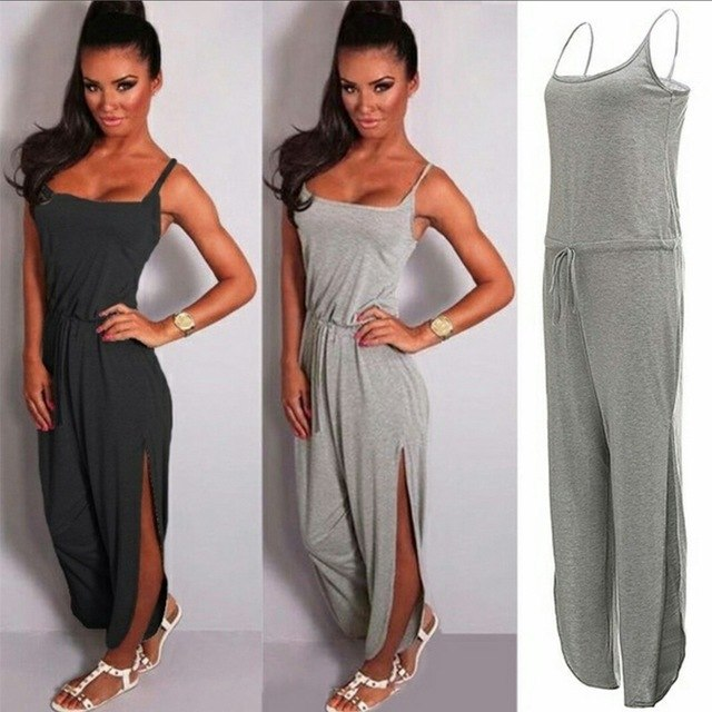 2018 Women Summer Casual Jumpsuit Cotton Spaghetti Strap Backless High Split Jumpsuits Homewear Long Pants