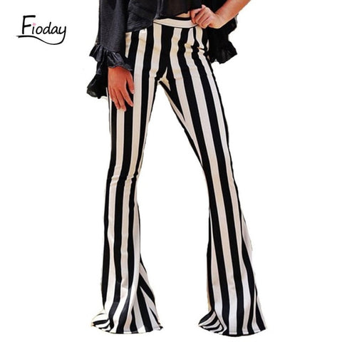 Black Striped Flare Pants Women Slim Long Pant Wide Leg Trousers Bell Bottom Leggings