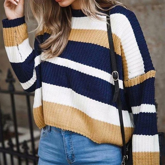 Loose Patchwork Sweater 2018 Winter Oversize Knitted Pullover Cashmere Ladies Women Sweaters Pullovers