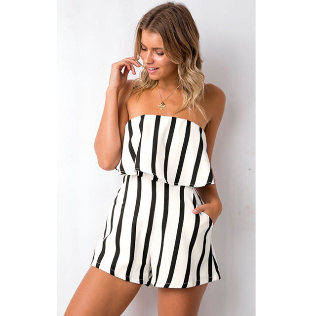 Summer Strips Jumpsuit Women Strapless White Romper Jumpsuit Playsuit Loose Overalls Clothes