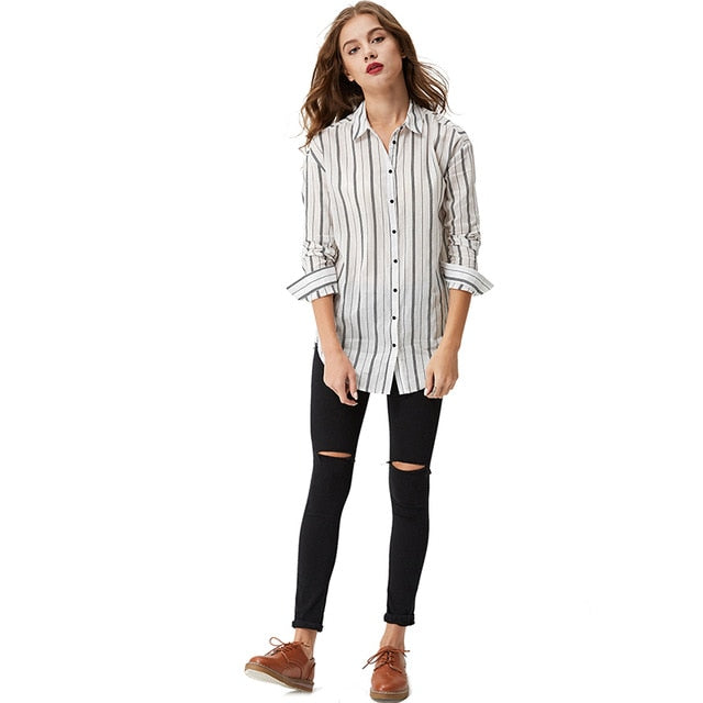 f5e53f72 2018 Blouses Long Sleeve Button Down Women'S Casual Shirt Vertical Striped  Chiffon Tops Loose Blusas Wcs-3678