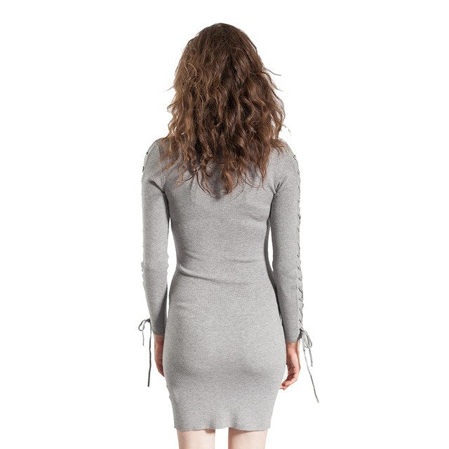 2018 Autumn Winter Women Sweater Dress Long Sleeve Solid Knit Knee Bodycon Party Sweaters Dresses 4967