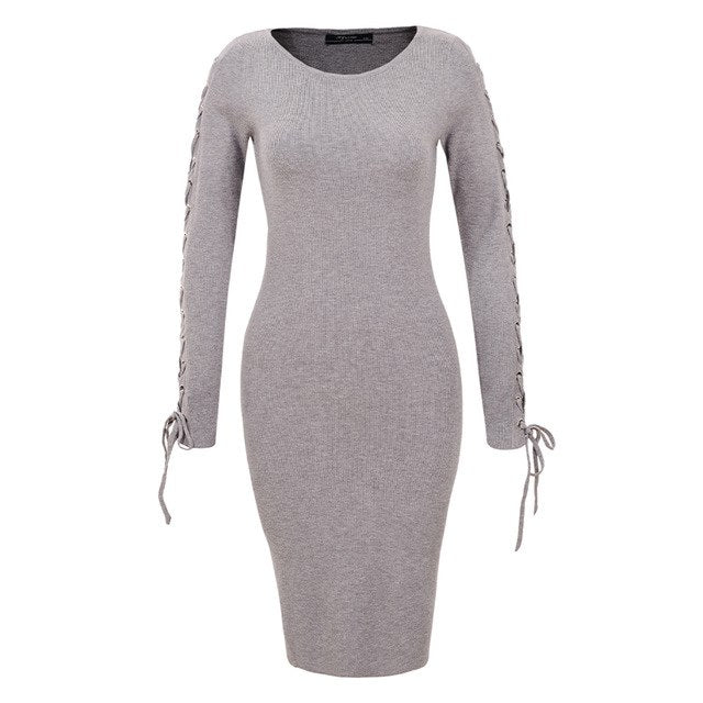 01b8a2e9c83 2018 Autumn Winter Women Sweater Dress Long Sleeve Solid Knit Knee Bodycon  Party Sweaters Dresses 4967
