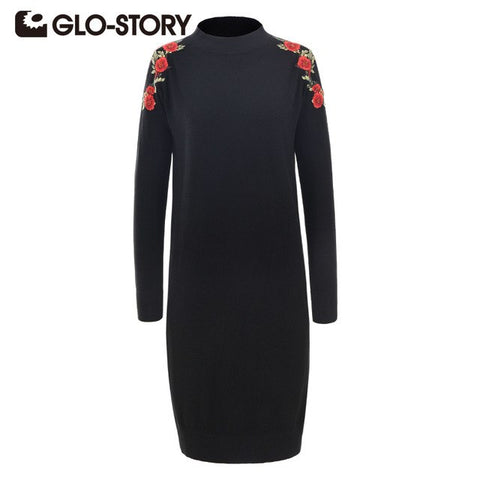 2018 Women Turtleneck Sweater Dresses Black Embroidered Knitting Loose Femme Sweaters Dress 5680