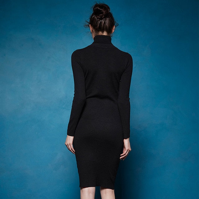2018 Winter Women Basic Turtleneck Sweater Dress Solid Bodycon Party Dress Vestidos Wyq-7628
