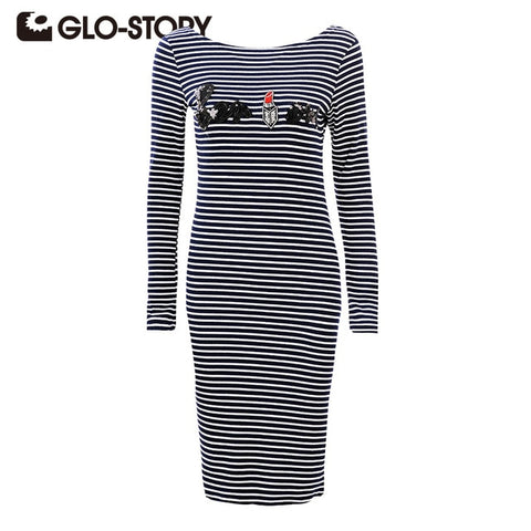 Women Dress 2018 Chic Long Sleeve Striped T-Shirt Dress Party Bodycon Dresses Wcx-3382