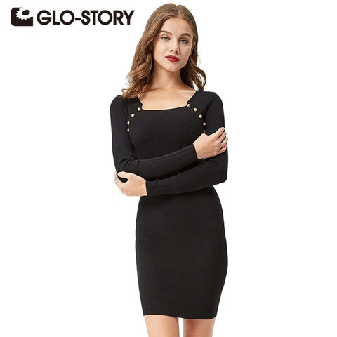 Sweater Dress 2018 Autumn Long Sleeve Dress Party Bodycon Knit Beading Dresses 3312