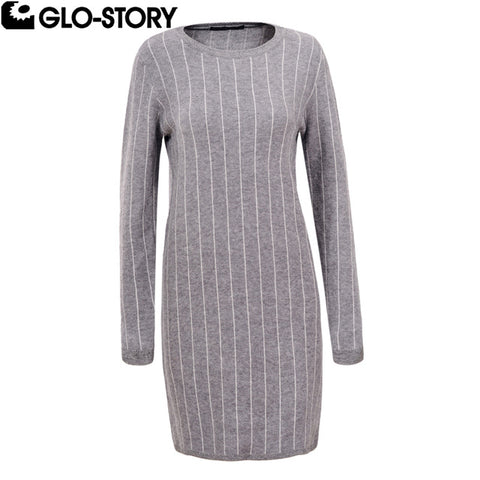 Woman 2018 Autumn Winter O-Neck Knitted Striped Print Mini Sweater Dress Women Office Sweatshirt Vestidos Wmy-5538