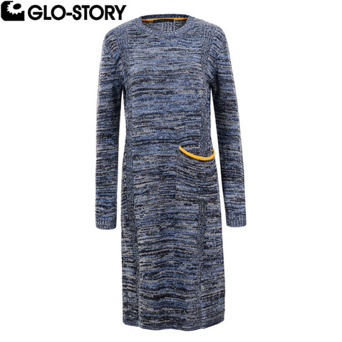 Women 2018 Mel Color Yellow Pocket Knee-Length Winter Sweater Dresses Women Knitted Long Autumn Dress 5634
