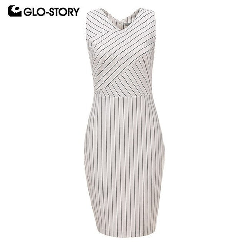 Women 2018 Sleeveless Wear To Work Bodycon Dress Woman V-Neck White Striped Dresses With Back Zipper Wyq-6030