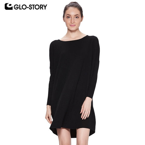 Women Basic Loose Pullover Sweater Dress Batwing Sleeve Solid Dress 2018 Vestidos Wyq-7672