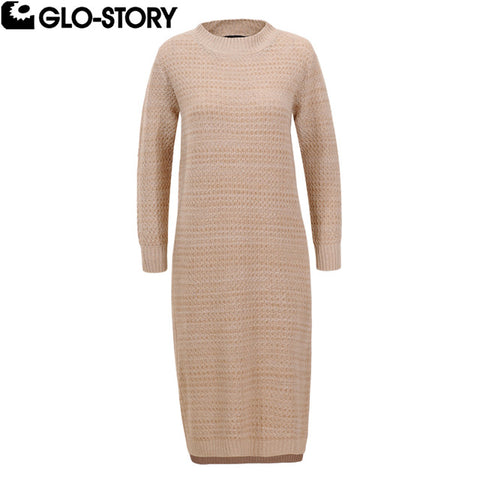 Women Casual Stand Collar Autumn Sweater Dresses Knitted Knee-Length Dress Wmy-5637