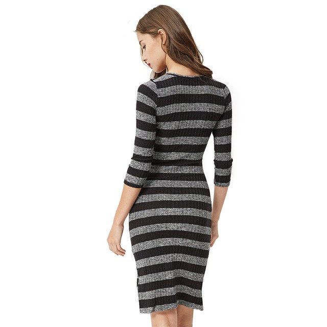 Women Casual Sweater Bodycon Dress 2018 Spring Autumn Knit Striped Party Dress Vestidos Wyq-1353