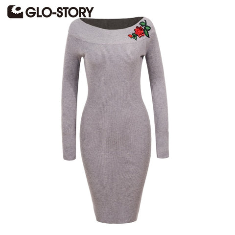 Women Embroidered Pullover Sweater Dress 2018 Autumn Winter Vintage Solid Party Bodycon Robe Dresses Vestidos