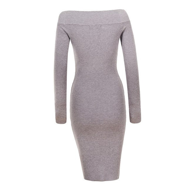 843f5f31424c8 Women Embroidered Pullover Sweater Dress 2018 Autumn Winter Vintage Solid  Party Bodycon Robe Dresses Vestidos