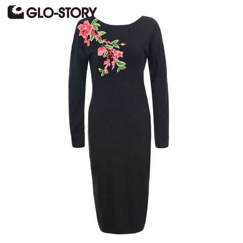 Women Embroidered Pullover Sweater Dress 2018 Autumn Winter Vintage Solid Vestidos Robe Dresses 5682