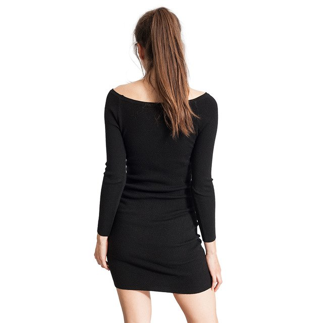 Women Sweater Bandage Dress Knit Solid Long Sleeve Party Bodycon Sweater Dresses 4958
